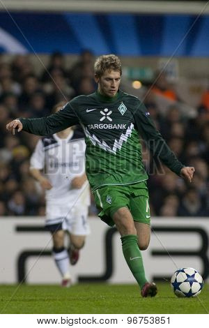 LONDON ENGLAND, November 11 2010: Werder Bremen's midfielder Aaron Hunt in action during the UEFA Champions League match between Tottenham Hotspur FC and Werder Bremen, played at White Hart Lane