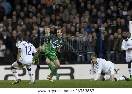 LONDON ENGLAND, November 11 2010: Tottenham's Wilson Palacios and Werder Bremen's Daniel Jensen in action during the UEFA Champions League match between Tottenham Hotspur FC and Werder Bremen