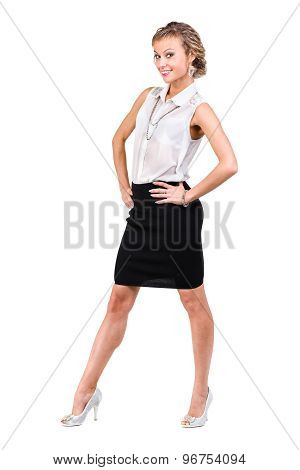 Business woman with copyspace isolated on white background