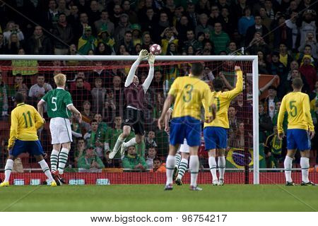 LONDON, ENGLAND. March 02 2010: Ireland's Shay Given makes a save during the international football friendly between Brazil and the Republic of Ireland played at the Emirates Stadium.