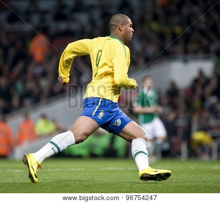 LONDON, ENGLAND. March 02 2010: Brazil's Adriano during the international football friendly between Brazil and the Republic of Ireland played at the Emirates Stadium.