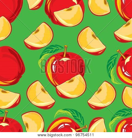 seamless pattern of red apple