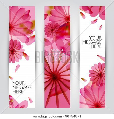 Vector floral and plant  banners set.