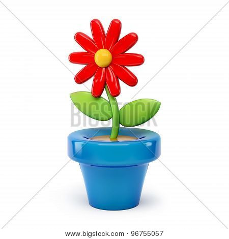 Flower In Pot 3D Cartoon Isolated On White Background