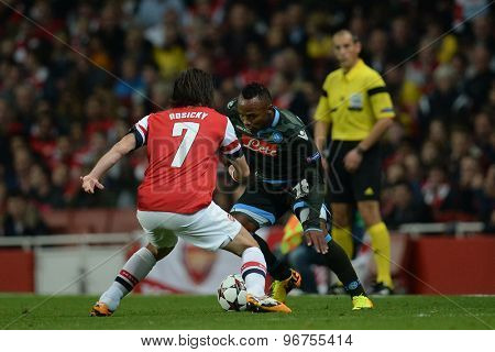 LONDON, ENGLAND - Oct 01 2013: Arsenal's midfielder Tomas Rosicky and Napoli's defender Camilo Zuniga from Columbia during the UEFA Champions League match between Arsenal and Napoli.