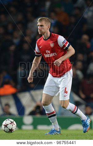 LONDON, ENGLAND - Oct 01 2013: Arsenal's defender Per Mertesacker from Germany  during the UEFA Champions League match between Arsenal and Napoli.