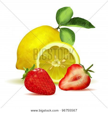 Fresh lemon with leaves and strawberry