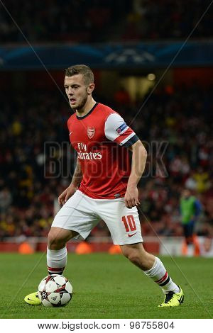 LONDON, ENGLAND - Oct 01 2013: Arsenal's midfielder Jack Wilshere from England   during the UEFA Champions League match between Arsenal and Napoli.