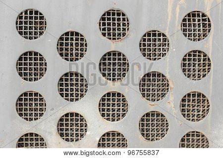 Abstract Vintage Metal Grid Circles Background.