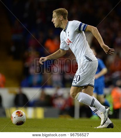 LONDON, ENGLAND - September 19 2013: Tottenham's Michael Dawson  during the UEFA Europa League match between Tottenham Hotspur and Tromso played at The White Hart Lane Stadium.