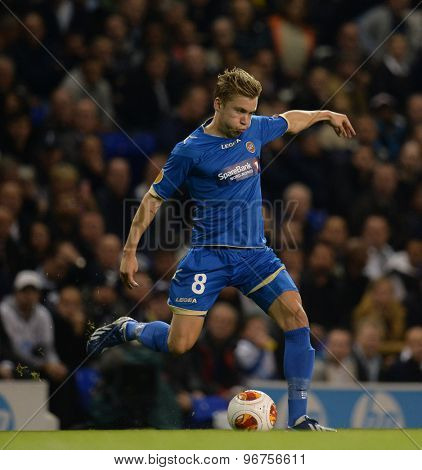 LONDON, ENGLAND - September 19 2013: Tromso's Thomas Kind Bendiksen  during the UEFA Europa League match between Tottenham Hotspur and Tromso played at The White Hart Lane Stadium.