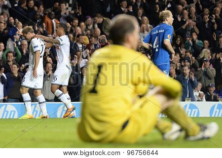 LONDON, ENGLAND - September 19 2013: Tottenham's Christian Eriksen celebrates scoring a goal during the UEFA Europa League match between Tottenham Hotspur and Tromso played at The White Hart Lane