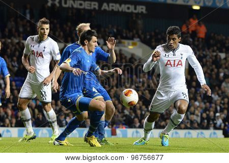 LONDON, ENGLAND - September 19 2013: Tottenham's Paulinho  during the UEFA Europa League match between Tottenham Hotspur and Tromso played at The White Hart Lane Stadium.