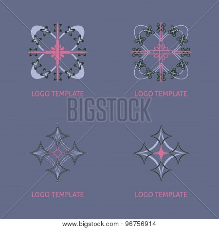 Vector ornamental symbols collection. Geometric logo  set.