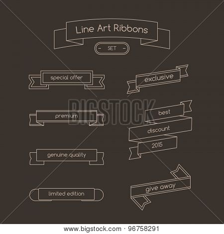 Set of curved ribbons thin line. Lineart illustration