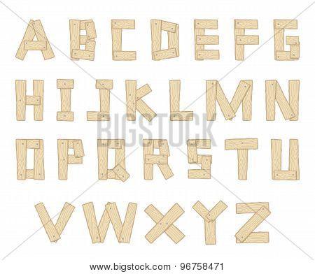 Hand Drawn Wooden Alphabet - Vector