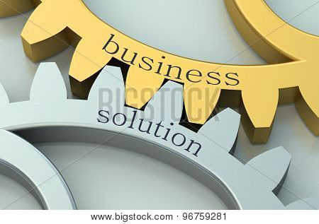 Business Solution Concept On The Gearwheels