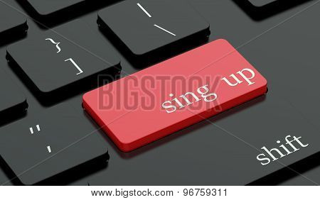 Sign Up Concept, Red Hot Key On  Keyboard