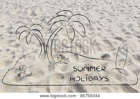 Desert Island With Text Summer Holidays