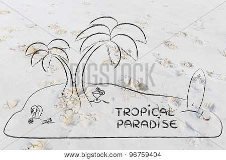 Desert Island With Text Tropical Paradise