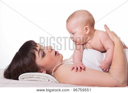Cute Family Mother And Baby