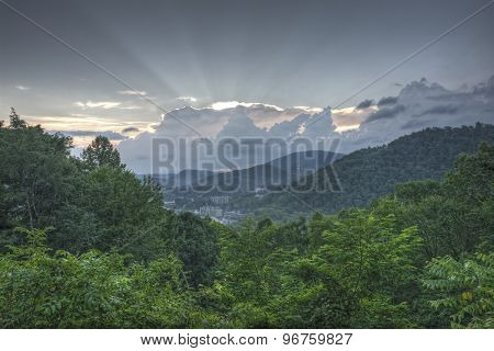 Cloudy Morning Sunrise Over Gatlinburg, Tennessee