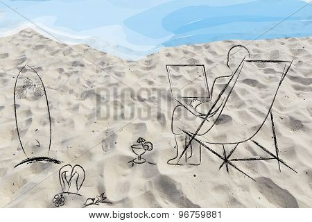 Online Jobs: Man Working Remotely With His Laptop On The Beach, On Sand Background