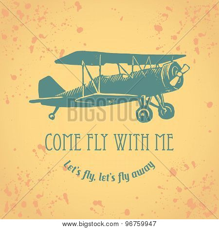 Vintage Arplane With Text And Drops On Background