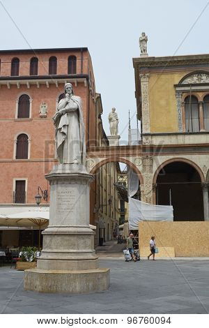VERONA, ITALY - JULY 13: Statue of Dante Alighieri at the Piazza dei Signori. July 11, 2015 in Verona.