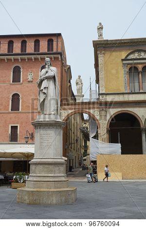VERONA, ITALY - JULY 13: Statue of Dante Alighieri at the Piazza dei Signori. July 11, 2015 in Verona.