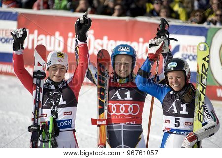 SOELDEN, AUSTRIA Oct 24 2009 ZETTEL Kathrin (AUT) left, 2nd placed racer, POUTIAINEN Tanja (FIN) winner, and KARBON Denise (ITA) 3rd placed racer in the womens giant slalom race