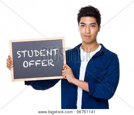 Asian mixed Indian man with blackboard showing the phrases of student offer