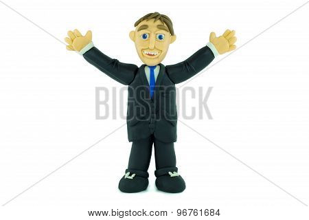 Success Business man smiling in plasticine