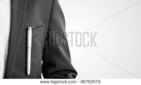 Closeup Of Businessman, Lawyer Or Officer In A Formal Business Suit With A Pen In His Jacket Pocket