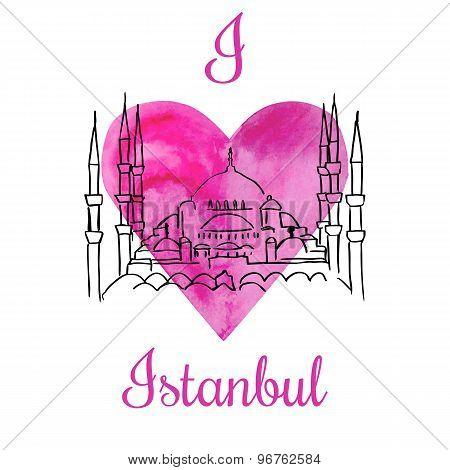 Vector Card I Love Istanbul
