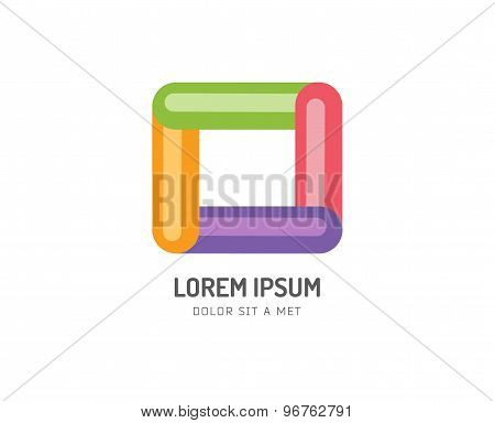 Abstract colored box vector icon. Isolated on white background. Circle, colored, shape, globe, abstr
