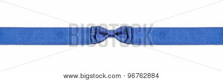 Symmetrical Blue Bow Knot On Narrow Satin Ribbon