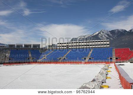 GARMISCH PARTENKIRCHEN, GERMANY. Feb 01 2011: Preview images for the 2011 Alpine skiing World Championships. A general view of the stadium and finish area of the Kandahar Arena