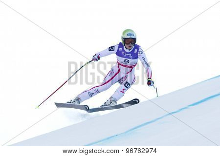 GARMISCH PARTENKIRCHEN, GERMANY. Feb 08 2011: Anna Fenninger (AUT) whilst competing in the women's super giant slalom race at the 2011 Alpine skiing World Championships