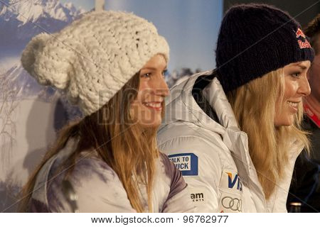 GARMISCH PARTENKIRCHEN, GERMANY. Feb 07 2011: Julia Mancuso and Lindsey Vonn from the US Ski team at the USSA press conference prior to the 2011 Alpine skiing World Championships