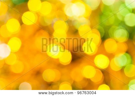 Yellow Green Blurred Shimmering Christmas Lights