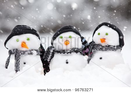 Three Cute Snowmen