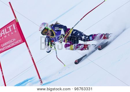 GARMISCH PARTENKIRCHEN, GERMANY. Feb 08 2011: Laurenne Ross (USA) whilst competing in the women's super giant slalom race at the 2011 Alpine skiing World Championships