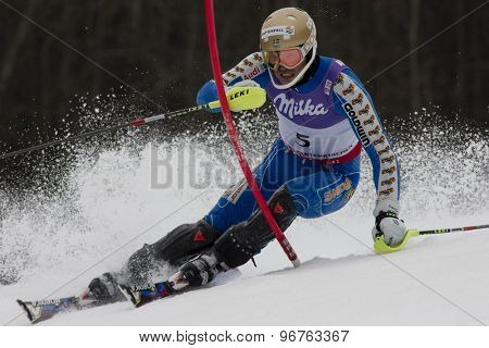 GARMISCH PARTENKIRCHEN, GERMANY. Feb 19 2011: Andre Myhrer (SWE)  competing in the mens  slalom race , at the 2011 Alpine skiing World Championships