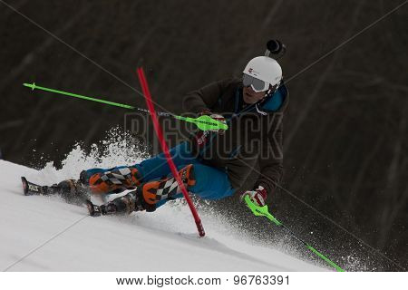 GARMISCH PARTENKIRCHEN, GERMANY. Feb 19 2011:  Bruno Kernen at the mens  slalom race , at the 2011 Alpine skiing World Championships