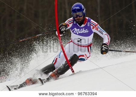 GARMISCH PARTENKIRCHEN, GERMANY. Feb 19 2011: Jean-Baptiste Grange (FRA)  competing in the mens  slalom race , at the 2011 Alpine skiing World Championships