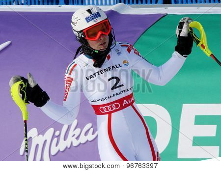 GARMISCH PARTENKIRCHEN, GERMANY. Feb 19 2011: Nastasia Noens (FRA) reacts in the finish area of the women's slalom race , at the 2011 Alpine skiing World Championships