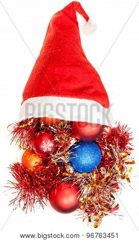 Xmas Decoration Tinsel Spill Out From Santa Hat