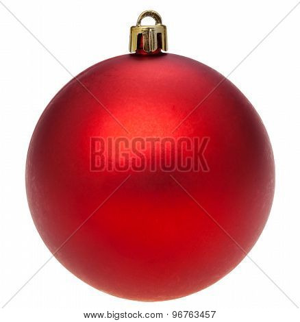 Xmas Dark Red Ball Isolated On White
