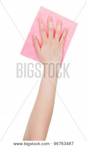 Top View Of Hand With Pink Cleaning Rag Isolated